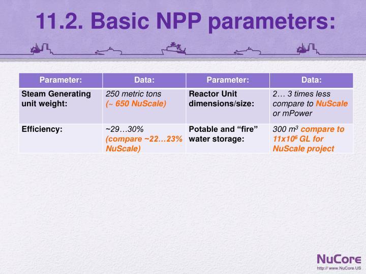 11.2. Basic NPP parameters:
