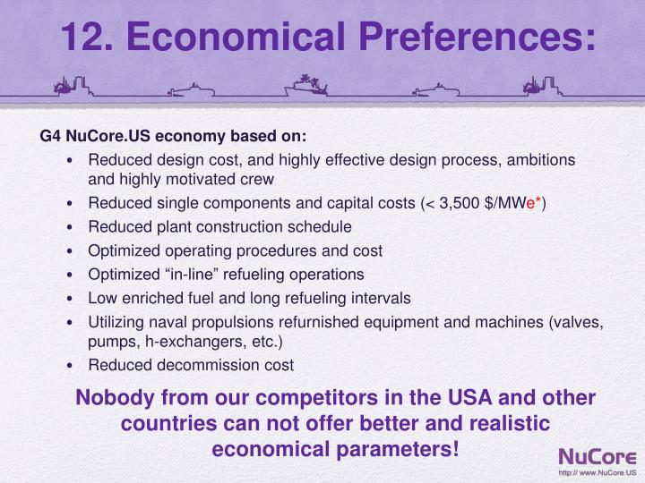 12. Economical Preferences: