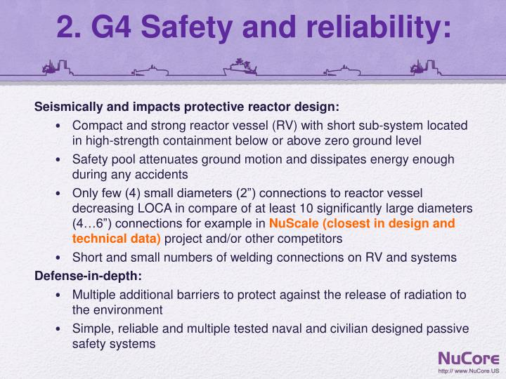 2 g4 safety and reliability