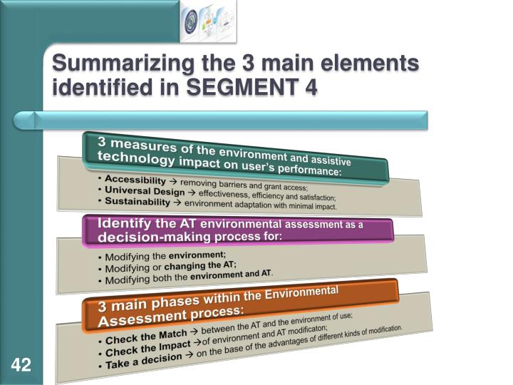Summarizing the 3 main elements identified in SEGMENT