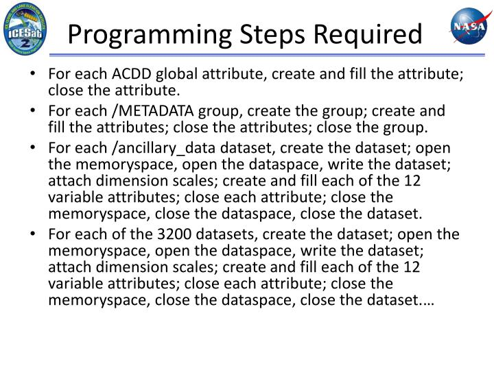 Programming Steps Required