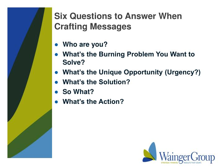 Six Questions to Answer When Crafting Messages