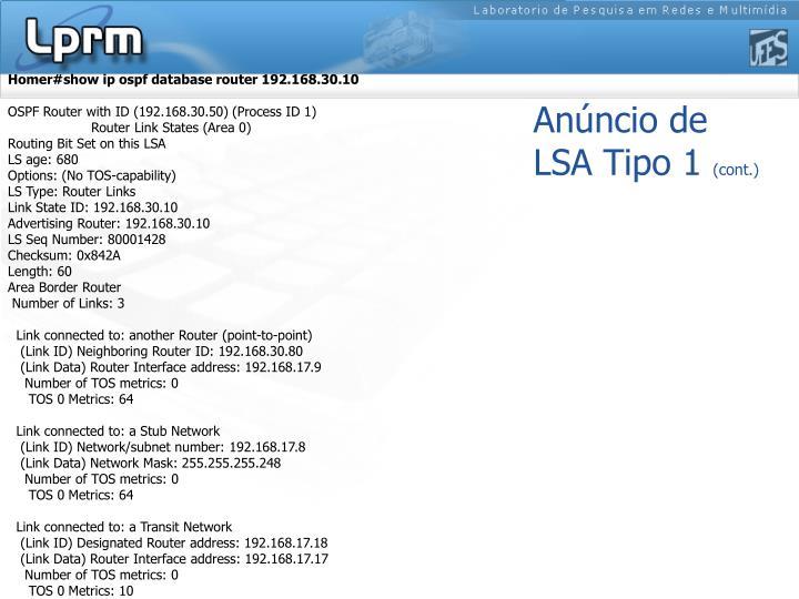 Homer#show ip ospf database router 192.168.30.10