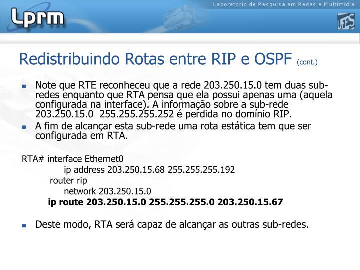 Redistribuindo Rotas entre RIP e OSPF