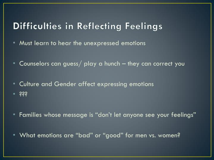 Difficulties in Reflecting Feelings