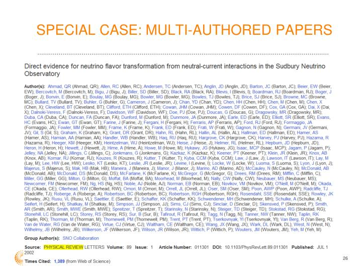 SPECIAL CASE: MULTI-AUTHORED PAPERS