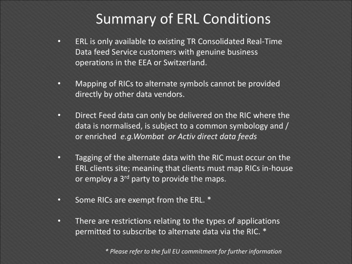 Summary of ERL Conditions