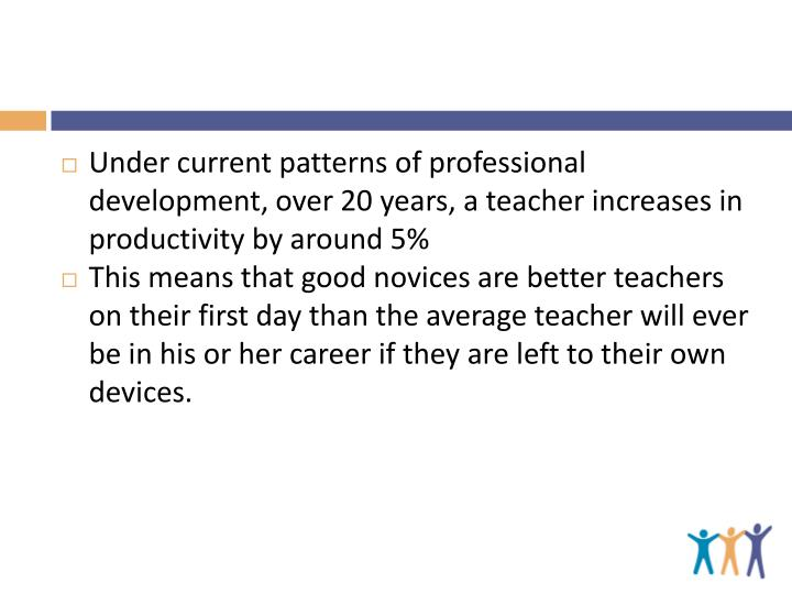 Under current patterns of professional development, over 20 years, a teacher increases in productivity by around 5%