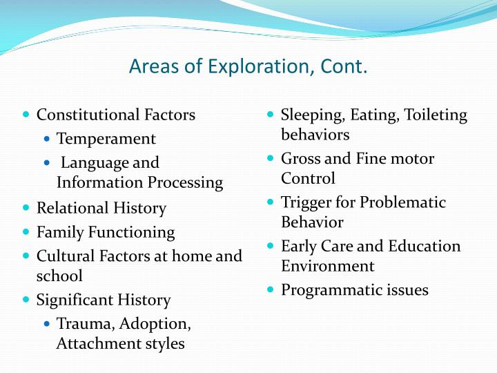 Areas of Exploration, Cont.