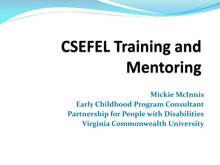 CSEFEL Training and Mentoring