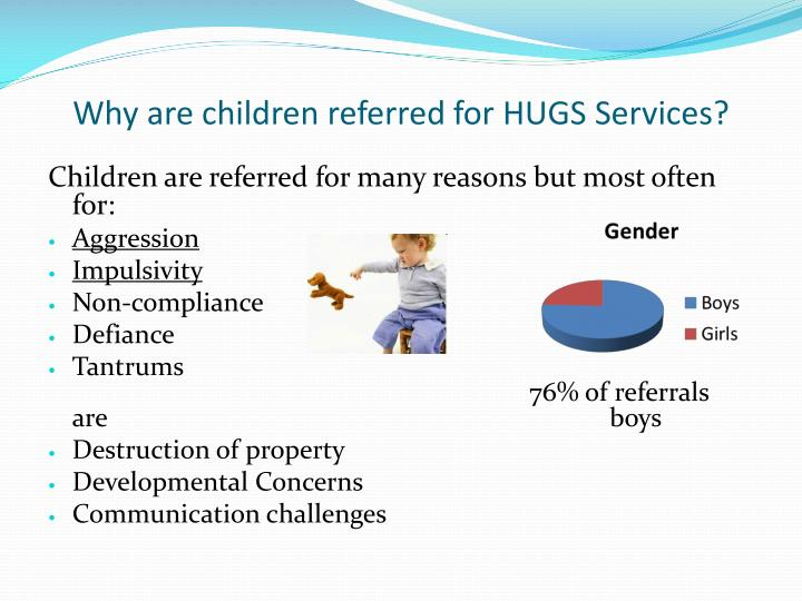 Why are children referred for HUGS Services?