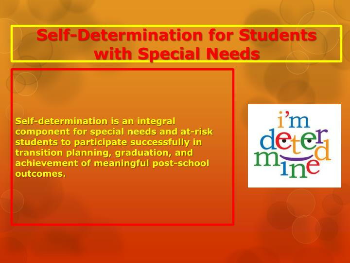 Self-Determination for Students with Special Needs