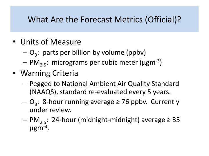 What Are the Forecast Metrics (Official)?