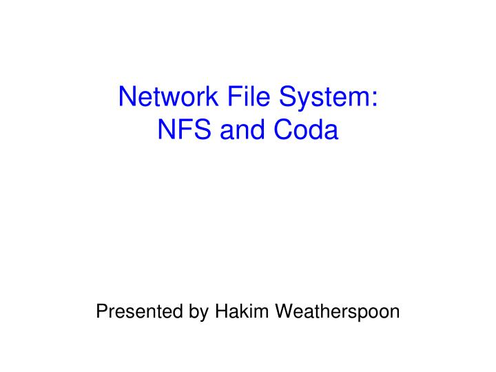 network file system nfs and coda n.