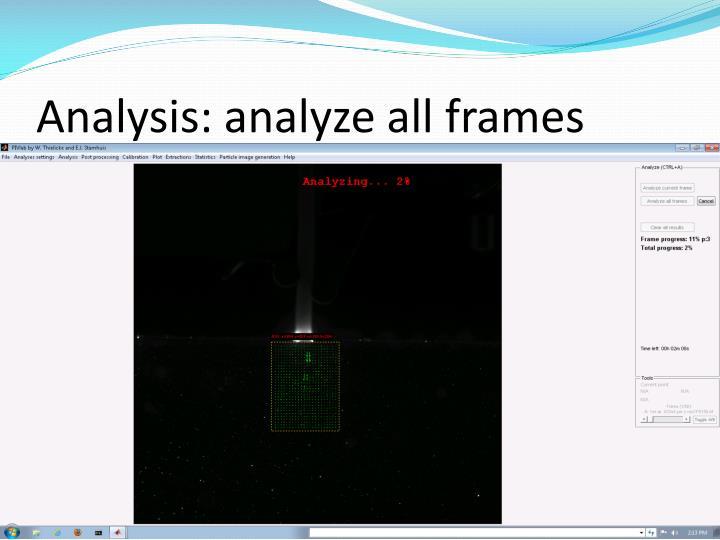 Analysis: analyze all frames