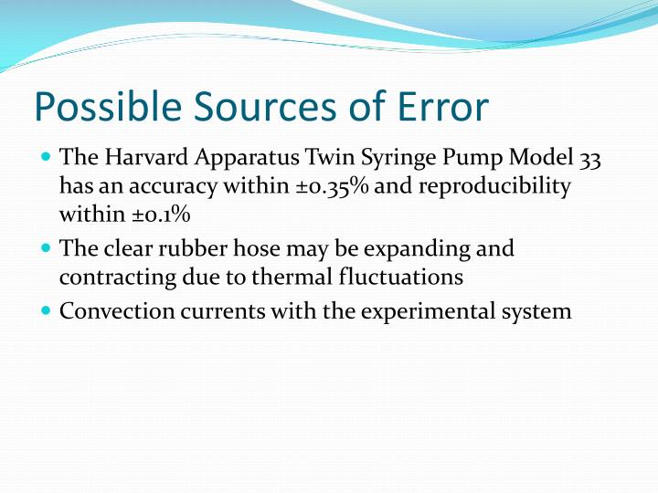 Possible Sources of Error