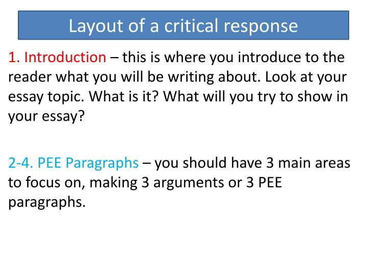 Layout of a critical response
