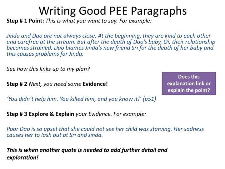 Writing Good PEE Paragraphs
