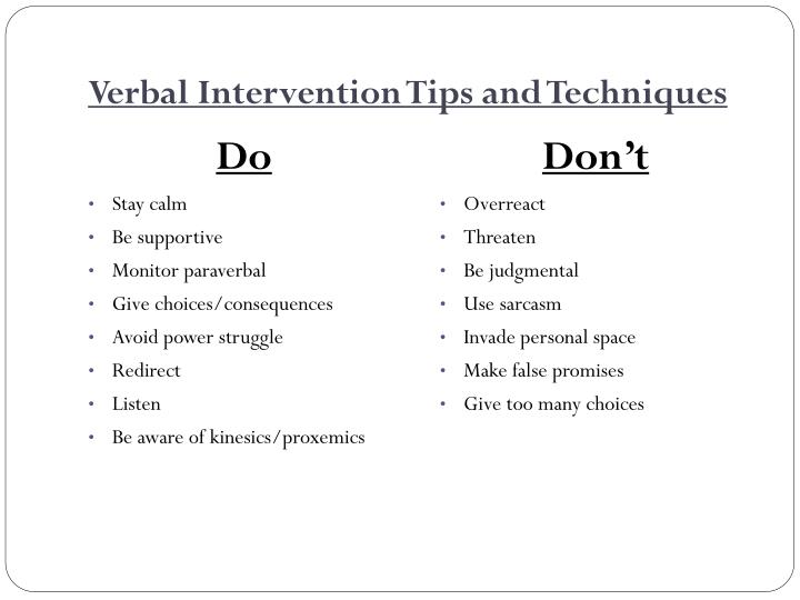 Verbal Intervention Tips and Techniques