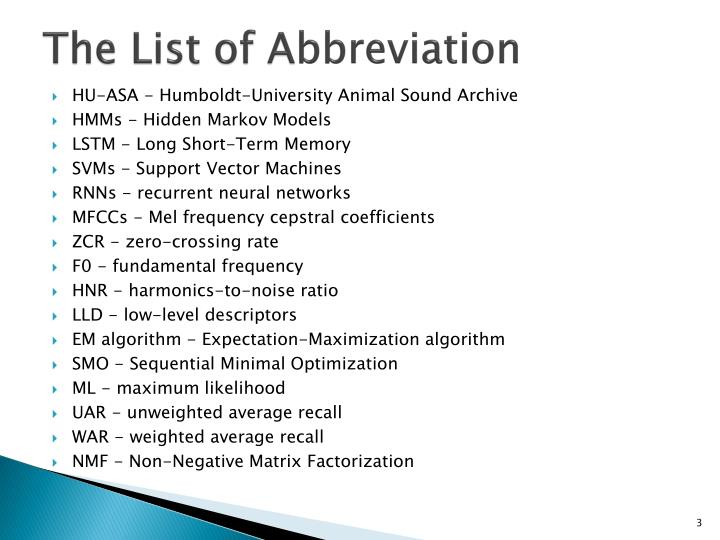 The list of a bbreviation