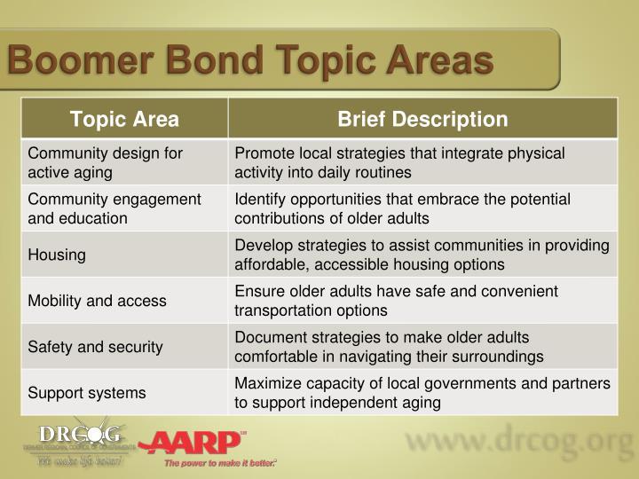 Boomer Bond Topic Areas