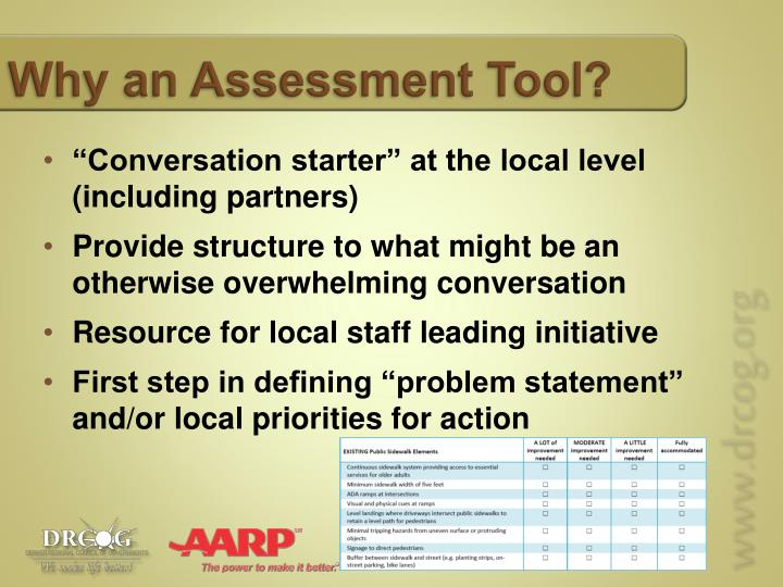 Why an Assessment Tool?