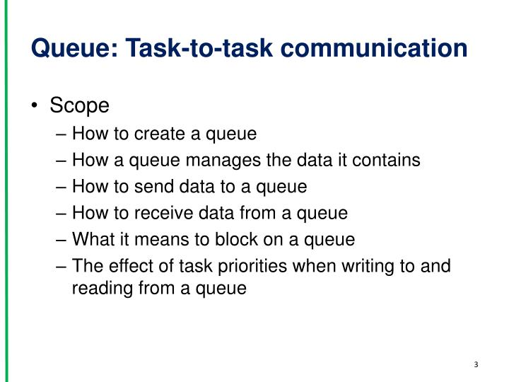 Queue task to task communication