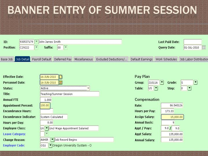 Banner Entry of Summer session
