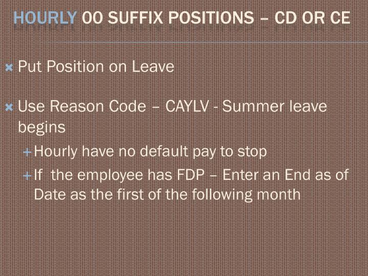 Put Position on Leave