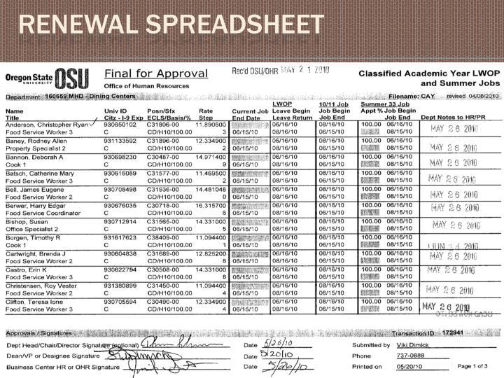 Renewal Spreadsheet