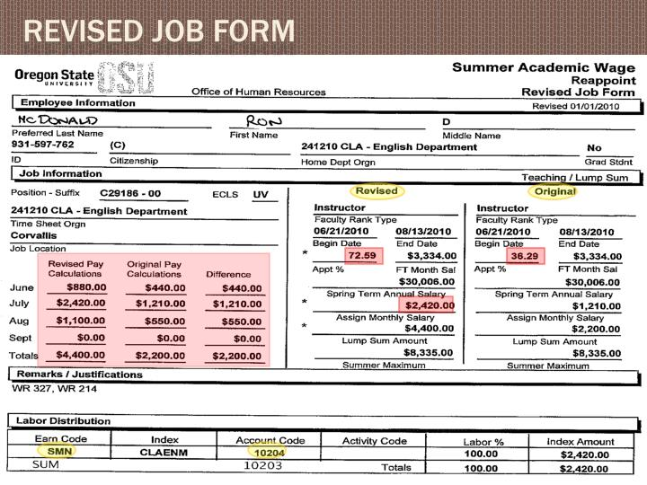 Revised job form