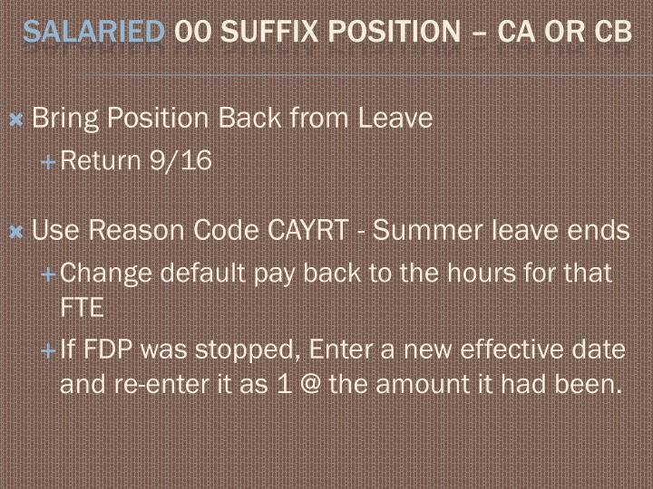 Bring Position Back from Leave