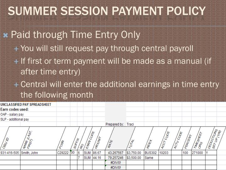 Paid through Time Entry Only