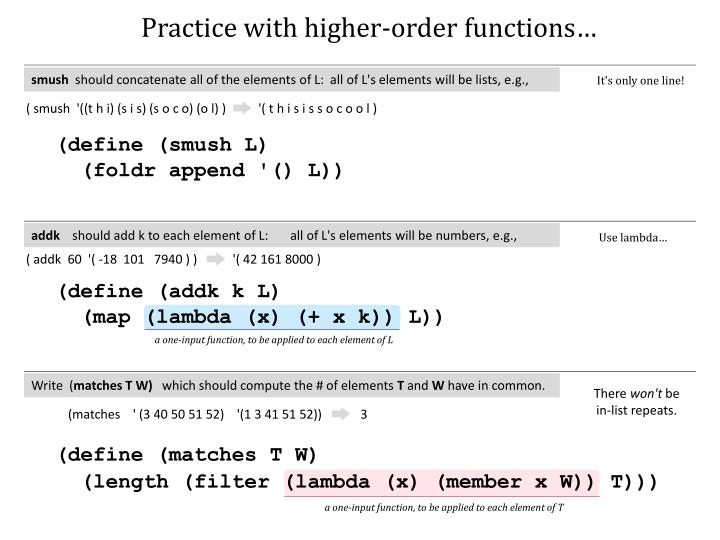 Practice with higher-order functions…