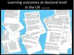 learning outcomes at doctoral level in the uk qaa 2008