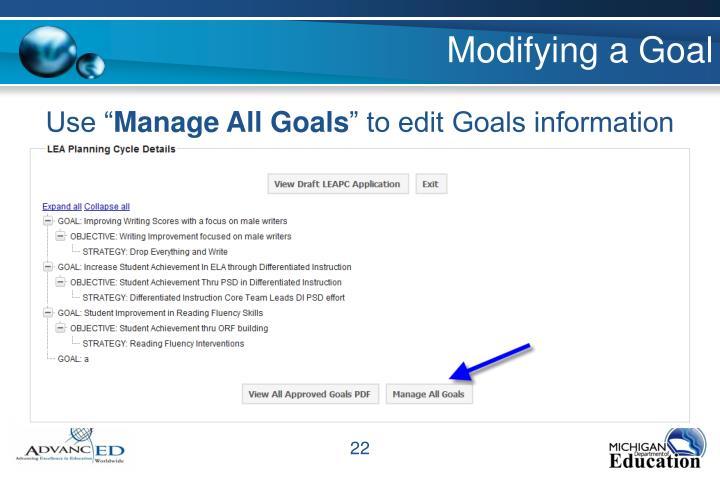 Modifying a Goal