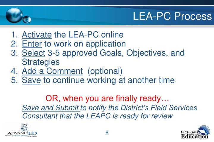 LEA-PC Process