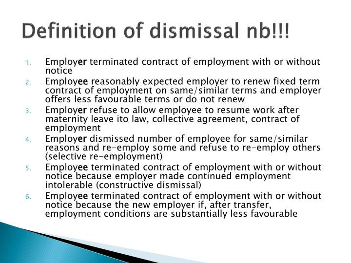 Definition of dismissal nb