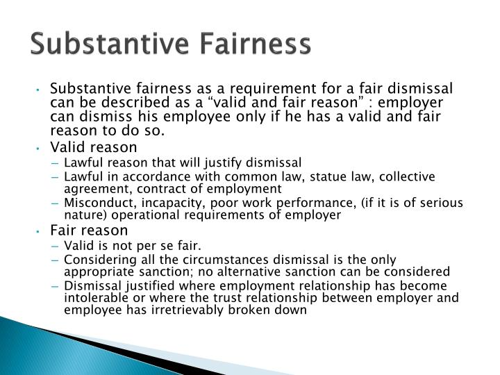 Substantive Fairness