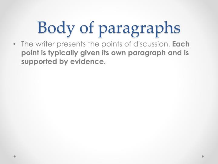 Body of paragraphs