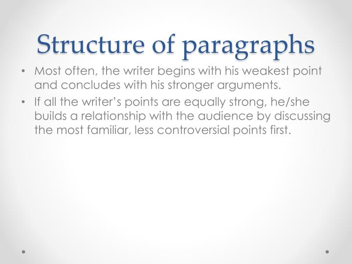 Structure of paragraphs