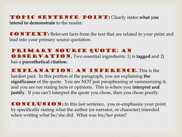 sentence with primary source