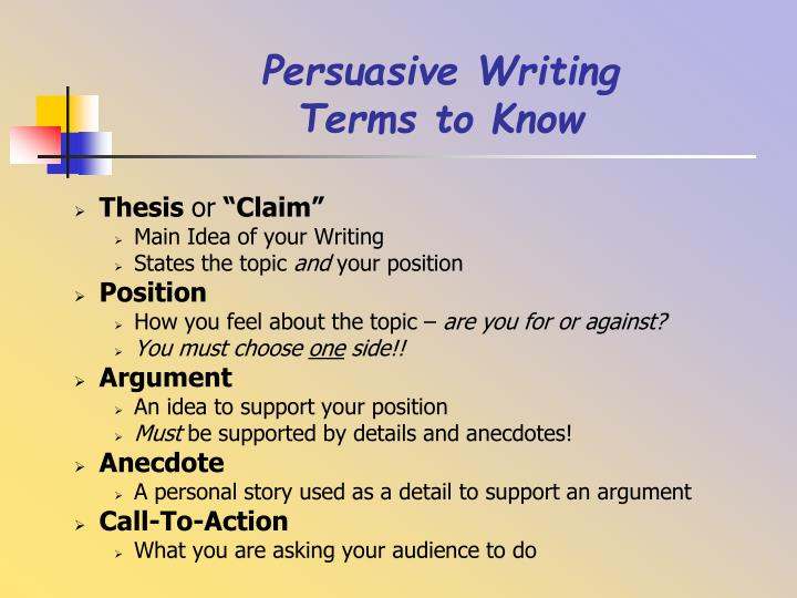 Persuasive writing terms to know