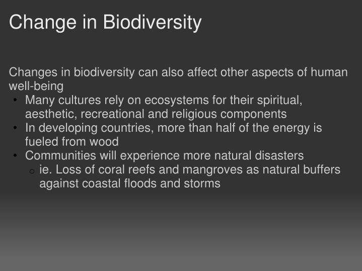 Change in Biodiversity
