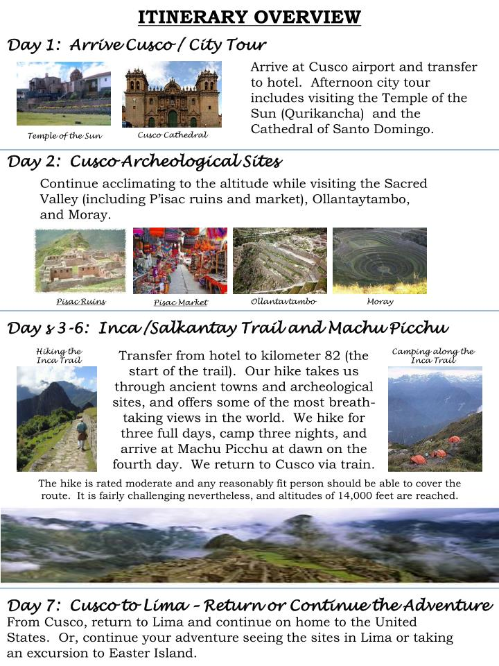 ITINERARY OVERVIEW