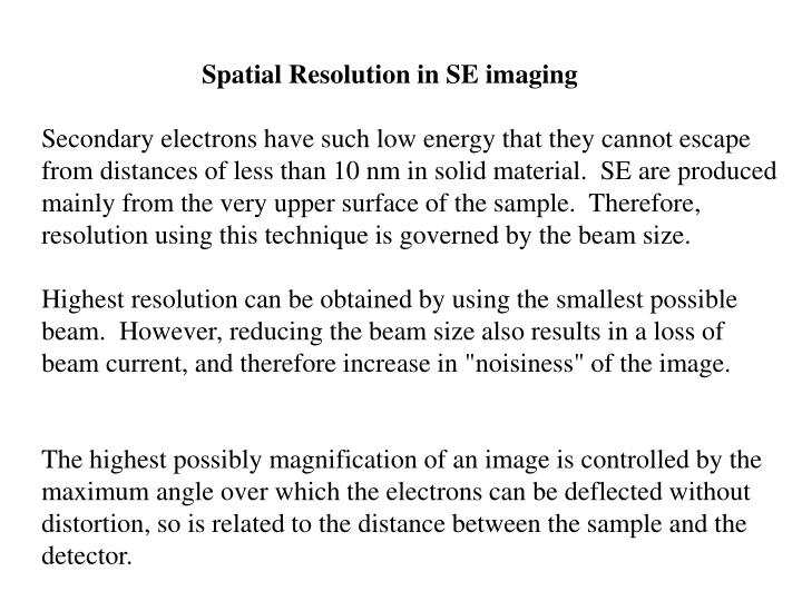 Spatial Resolution in SE imaging