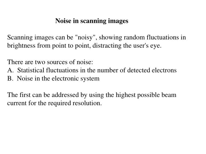 Noise in scanning images
