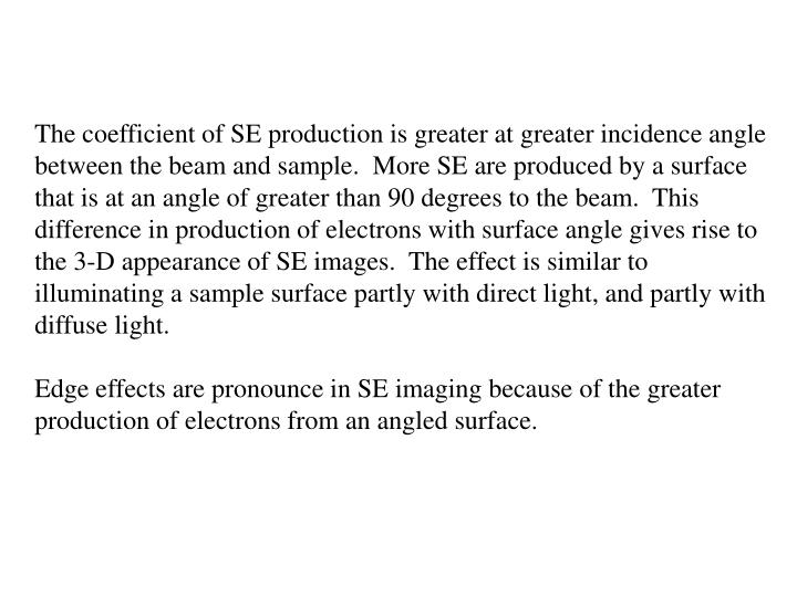 The coefficient of SE production is greater at greater incidence angle between the beam and sample.  More SE are produced by a surface that is at an angle of greater than 90 degrees to the beam.  This difference in production of electrons with surface angle gives rise to the 3-D appearance of SE images.  The effect is similar to illuminating a sample surface partly with direct light, and partly with diffuse light.