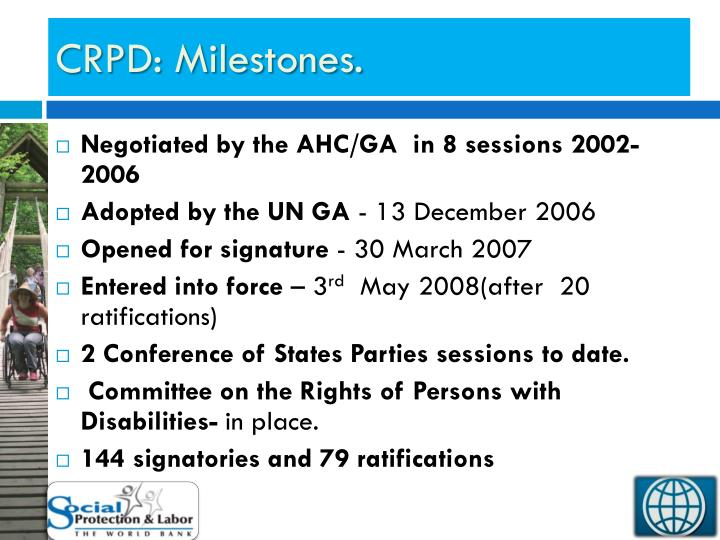 Crpd milestones
