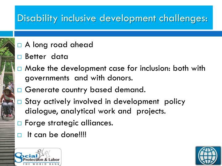 Disability inclusive development challenges: